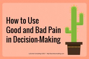 pain, good pain, bad pain, painful decisions, decision-making, management, risk management