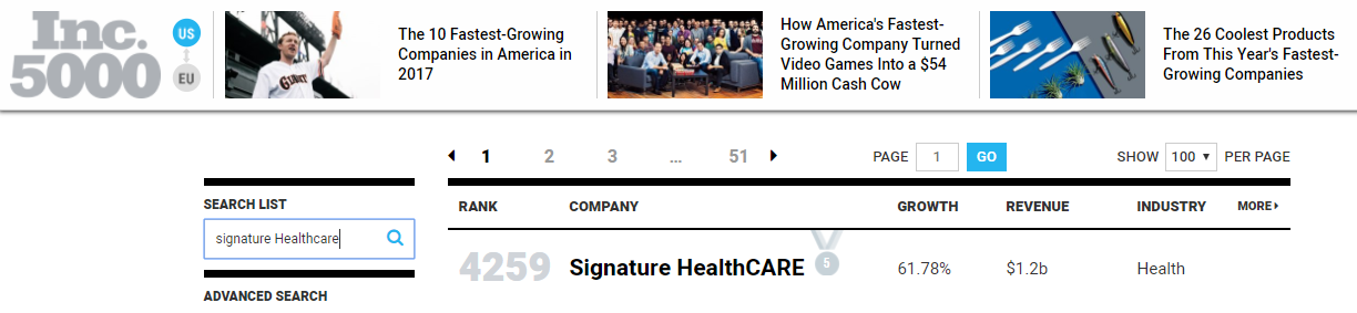 Inc 5000, fastest growing companies, 2017 list, Signature Healthcare, healthcare