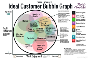 ideal customer, bubble graph, ideal customer graph, profit potential, work enjoyment, ideal customer, key segments, niche segments, strategic planning