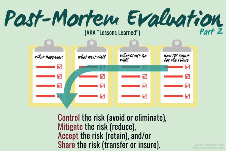 Post-Mortem Eval, Post-Mortem Evaluation, Post-Portem, Lessons Learned, business review, business evaluation, root cause evaluation, root cause, strategic risk
